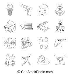 sport, education, police and other web icon in outline style.technology, animal, medicine icons in set collection.
