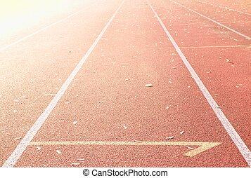 sport, effet, stade, piste de roulement, ensoleillé, résumé