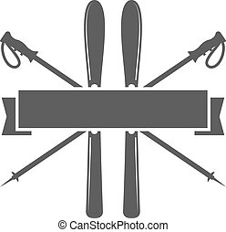 sport, emblem., ikone, ski, insignia., vektor, design., symbol., wildnis, etikett, leerer , logo, badge., camping, winter, template., forscher, abenteuer, snowboard, weinlese, draußen, hüfthose, reise, berg