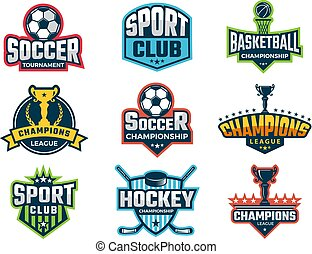 Sport emblem. Super star world cup competition badges logos and vector sticker