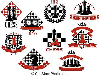 Sport emblems and icons of chess game - Retro sporting...