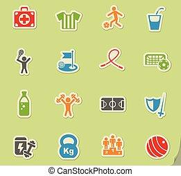 sport, ensemble, icône