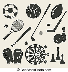 sport, ensemble, icônes