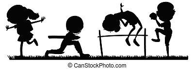 sport, ensemble, silhouette, athlètes
