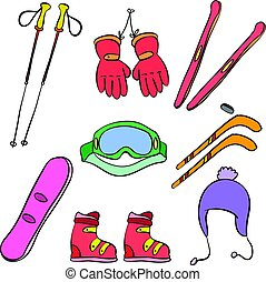 Sport equipment colorful doodle style