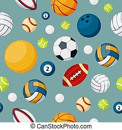 Sport equipment flat vector colorful seamless pattern