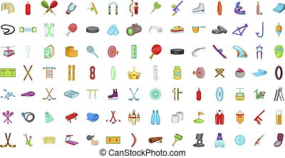 Sport equipment icon set, cartoon style