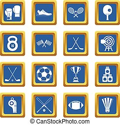 Sport equipment icons set blue