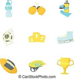 Sport equipment icons set, cartoon style