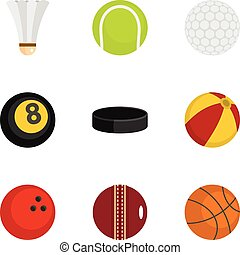 Sport equipment icons set, flat style