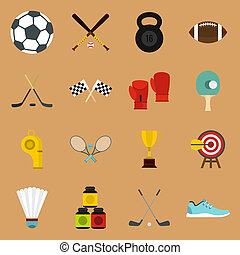 Sport equipment icons set, flat style