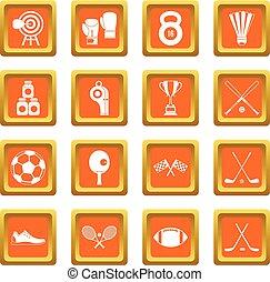 Sport equipment icons set orange