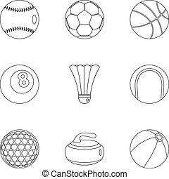 Sport equipment icons set, outline style