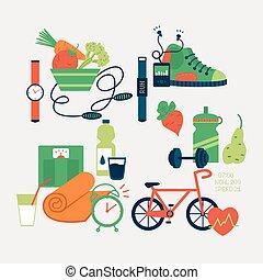 Sport equipment icons vector illustration