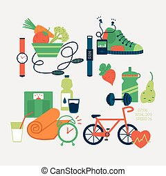 Sport equipment icons vector illustration