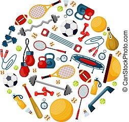 Sport equipment in circle shape flat vector illustration