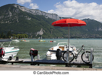 sport equipment nearby the lake