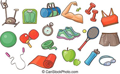 Sport equipment set, physical activity inventory vector Illustrations on a white background