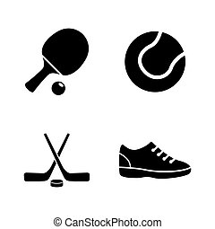 Sport Equipment. Simple Related Vector Icons