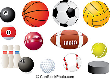 sport equipments isolated on white some of them have a...