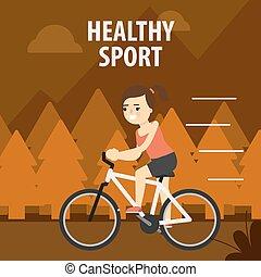 sport., esterno, ciclismo, ragazza, strada.