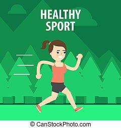 sport., esterno, strada, correndo, ragazza