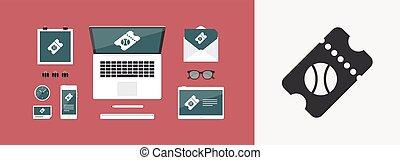 Sport event ticket - Vector web icon