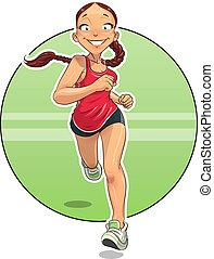 sport., executando, girl.