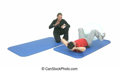 Sport exercise on a blue mat