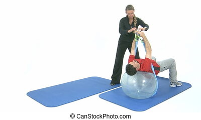 Sport exercise on a transparent rubber ball