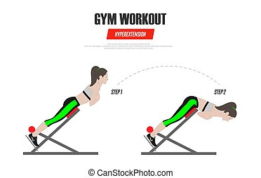 Sport exercises. Gym workout. Hyperextension on Roman chair. Illustration of an active lifestyle Vector
