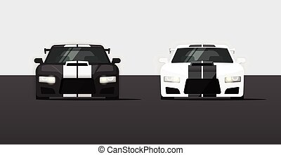 Sport expensive tuned cars isolated vector illustration