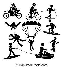 sport, extrém, design.
