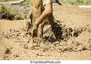 sport extrême, boueux, eau, défi