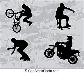 sport extrême, silhouettes