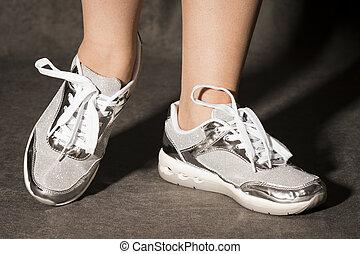sport, ezüst, cipők