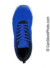 sport, fait, blanc, shoes., sole., basket, tissu, bleu