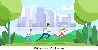 Sport family. Father, mother and son jogging in the park. Big city on background. Vector illustration