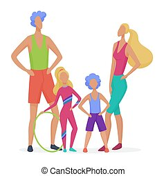 Sport family isolated. Dad, mother, son and daughter ready to doing fitness abstract minimalistic style vector illustration.
