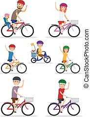 sport, family., mutti, vati, und, kinder, reiten, fahrräder
