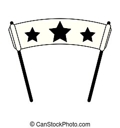 sport fan flag with stars black and white