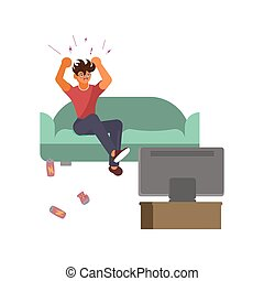 Sport fan sits on the sofa in front of the TV and gets angry over losing the team. Bad luck and stressful situations concept. Flat Art Vector illustration