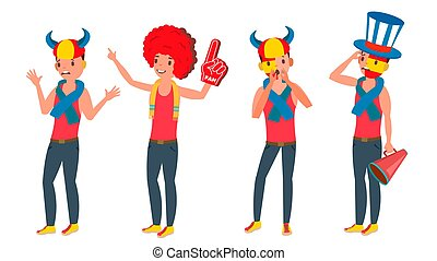 Sports Supporting Team Vector. Guys Fans Cheer For Team. Different Poses. Cartoon Character Illustration