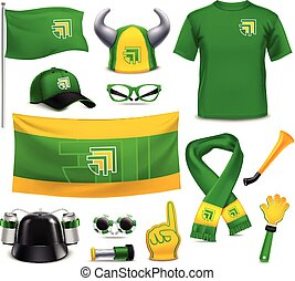 Sport Fans Supporters Realistic Mockup Accessories