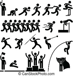 Sport Field and Track Game Athletic - A set of pictogram ...