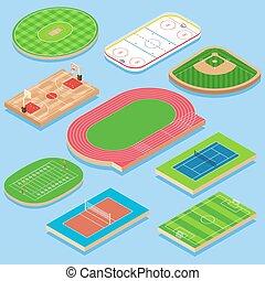 Sport field vector flat isometric icon set