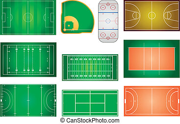 sport fields and courts - detailed illustration of different...