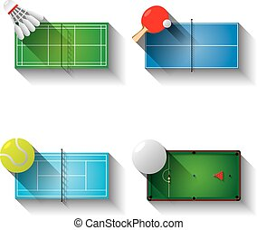 Sport fields illustration icons set