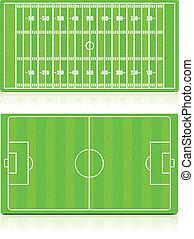Sport Fields set with grass