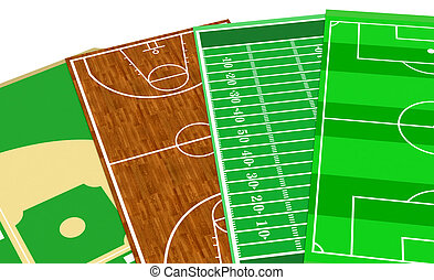 sport fields - set of sport fields, soccer, basketball,...